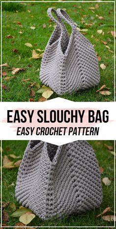 Crochet pattern Easy Slouchy Bag - easy crochet bag pattern for beginners . Crochet pattern Easy Slouchy Bag - easy crochet bag pattern for beginners - bags and cups - Crochet Simple, Free Crochet Bag, Crochet Tote, Crochet Handbags, Crochet Purses, Crochet Hooks, Knit Crochet, Crochet Baskets, Crochet Gifts