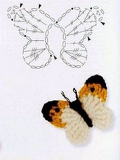 25 +> – would add the head of every little girl super cute … - Knitting and Crochet Marque-pages Au Crochet, Crochet Amigurumi, Crochet Diagram, Crochet Gifts, Crochet Stitches, Crochet Butterfly Pattern, Crochet Flowers, Crochet Doilies, Borboleta Crochet