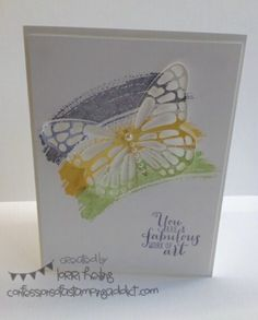 Butterfly Cards :: Confessions of a Stamping Addict Lorri Heiling Butterfly Thinllit Color Combo: WIsteria Wonder, Pear Pizzazz, Daffodil Delight