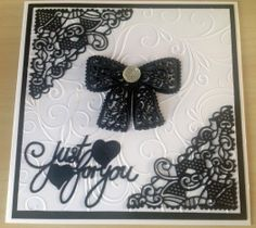 """Tattered Lace """"Chantilly Bow"""" card sample (Site: photo only) Card Making Inspiration, Making Ideas, Shilouette Cameo, Tattered Lace Cards, Diy Cards, Craft Cards, Embossed Cards, Beautiful Handmade Cards, Die Cut Cards"""