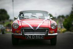 red wedding car vintage
