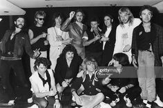 Lemmy of Motorhead, Roger Taylor of Queen, Andy Bown of Status Quo, John Entwistle (1944 - 2002) of The Who, Kenney Jones, Francis Rossi of Status Quo, Rick Wakeman, Denny Laine. Front row, left to right: unknown, Alan Lancaster, Rick Parfitt and Pete Kircher of Status Quo, unknown. The band later reformed. (Photo by Dave Hogan/Hulton Archive/Getty Images)