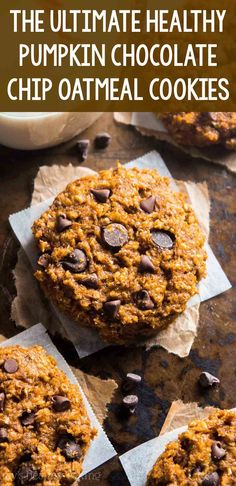 Clean Eating Chewy Pumpkin Pie Chocolate Chip Oatmeal Cookies – these skinny cookies don't taste healthy at all! You'll never need another pumpkin cookie recipe again! Low Calorie Cookies, Low Calorie Desserts, Clean Eating Desserts, Pumpkin Recipes Clean Eating, Oatmeal Chocolate Chip Cookie Recipe, Pumpkin Chocolate Chip Cookies, Oatmeal Cookie Recipes, Pumpkin Cookie Recipe Healthy, Gluten Free Pumpkin Cookies