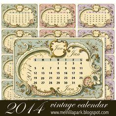 Free printable 2014 Vintage Calendar Cards - ausdruckbare Kalender-Karten - freebie