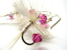 Fishing Lure Earrings  Pink and White by Raynecloud on Etsy, $20.00