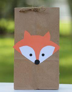 Fox Birthday Party, Woodland Party, Fox Woodland Birthday, Woodland Fox Party, Fox Treat Bags, Fox Favor Bag, Fox Birthday Favor Bag, (12)