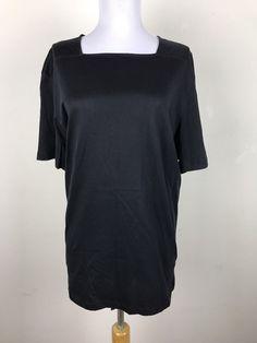 COS Blouse Size XL Black Square Neckline Short Sleeve Cotton Womens Casual #COS #Blouse #Casual