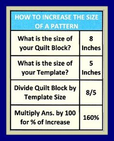 A great site of encouragement and tips for beginning quilters and helpful tips for all! Use these great tips on your next project with fabric from the Fabric Shack at http://www.fabricshack.com/cgi-bin/Store/store.cgi Repinned: how to increase quilting template pattern