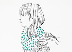 Girl with dotty scarf   8x10 or A4 print by 10antemeridiem on Etsy, $20.00