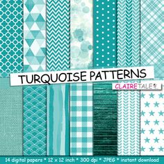 """Buy Turquoise digital paper: """"TURQUOISE PATTERNS"""" with gingham, chevron, watercolour, triangles, leaves, stars, stripes, wood, linen, quatrefoil by clairetale. Explore more products on http://clairetale.etsy.com"""