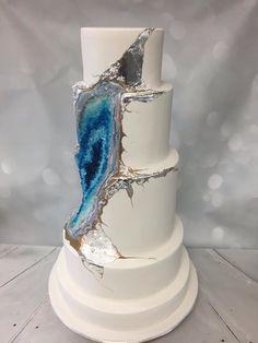 Whisk Cake Company Blue Geode Wedding Cake