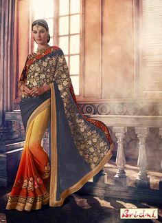 amazing blue and yellow Indian bridal wedding and party wear saree designs 2017 Bollywood Dress, Pakistani Dresses, Indian Dresses, Indian Outfits, Indian Bollywood, Bridal Sarees Online, Indian Bridal Sarees, Indian Sarees Online, Sari Design
