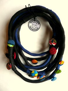Unique/ Yarn Wrapped Necklace/ African fabric/ by HappyCrafts1