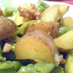Kurkuma krieltjes met sperziebonen en spekjes - Het keukentje van Syts