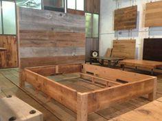 DIY platform bed frame | Reclaimed wood headboard attached to a platform bed. LOVE. | diy ideas