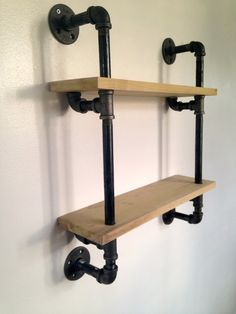 Reclaimed Wood Double Tier Shelf // Wood & Pipe // Ships Nationwide