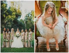 Gold sequin bridesmaids & flower girl dresses | New Year's Eve wedding inspiration