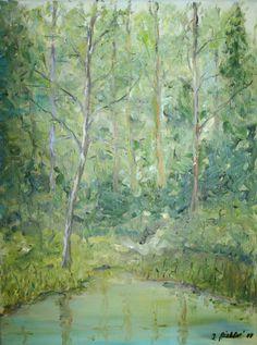 Stimmungsbild Wald mit Teich von Kunstmaler Josef Biehler.