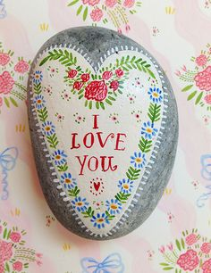 Pretty vintage shabby cottage chic style painted rock from Nantucket Mermaid
