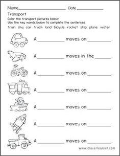 transportation worksheet and activities for preschools Kindergarten Math Worksheets, 1st Grade Worksheets, Science Worksheets, Preschool Learning Activities, Vocabulary Worksheets, Preschool Homework, Daily Activities, Transportation Form, Transportation Worksheet