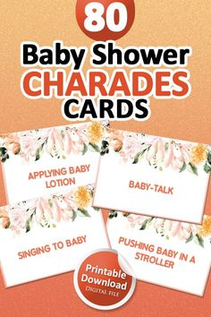Baby Shower Charades, Baby Shower Games, Baby Boy Shower, Charades Game, Baby Shower Signs, Baby Shower Favors, Baby Shower Decorations, Printable Party
