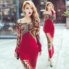 Knitted Dress 2016 Autumn Winter Women Red Bohemia Print Long Sleeve Slim Hip Placketing Knitting Sweater Long Maxi Dress Black And White Casual Dresses Party Dresses Ladies From Dongguan_wholesale, $34.38  Dhgate.Com