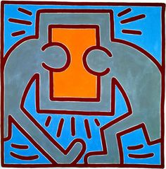 Keith Haring - Untitled No. 1988 Acrylic on Canvas 60 x 60 inches 152 x 152 cm Jean Michel Basquiat, Jm Basquiat, Jasper Johns, Jackson Pollock, Josef Albers, Keith Allen, Keith Haring Art, Tv Movie, Modern Pop Art