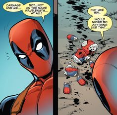 Carnage We know Deadpool, you don't kill kids Marvel Jokes, Marvel Funny, Marvel Dc Comics, Marvel Heroes, Funny Comics, Loki, Deadpool X Spiderman, Spideypool, Superfamily