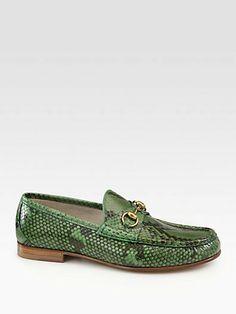 Gucci Green Python Horsebit Loafer