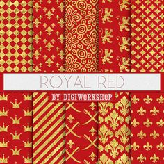 Red Digital Paper Royal Gold And With Crowns Fleur De Lys Regal Patterns In Colors