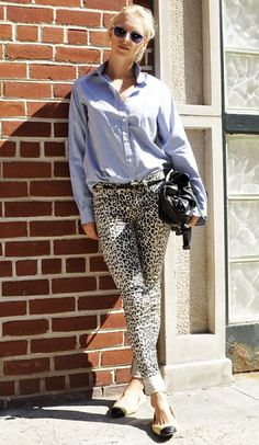 Leopard print pants + Chanel flats.