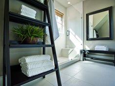 Easel-Style Shelves: Guest Bath Suite, HGTV Dream Home 2013 --> http://www.hgtv.com/dream-home/hgtv-dream-home-2013-guest-suite-bathroom-pictures/pictures/page-2.html?soc=pinterest