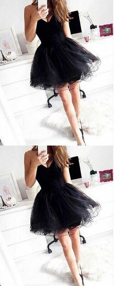 2017 Homecoming Dress,Black Homecoming Dresses,Tulle Homecoming Dress,Party Dress,Prom Gown