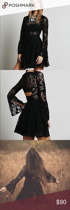 NWT Free People Lovers Folk Song Mini Dress A beautiful lace dress with bell sleeves and beautiful cutout designs. It would be a great dress for the upcoming fall and winter weather, worn with boots and a scarf! It is so ethereal with just the right amount of sexiness! Please feel free to ask any questions and thank you for looking! Free People Dresses Mini