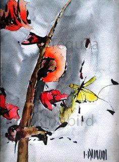 "Haiku 2 - Flor o Mariposa  (Haiku 2 - Flower or Butterfly)    Ivonne Palacios, 2011    Watercolor on Paper  26 x 18 cm     10.25"" x 7""    Available  Framed  $300"