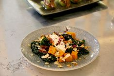 Butternut squash and cavolo nero salad topped with cottage cheese and toasted almonds at Pomona's (London) Salad Topping, Toasted Almonds, London Restaurants, Cottage Cheese, Butternut Squash, Tea Time, Risotto, Rolls, Ethnic Recipes