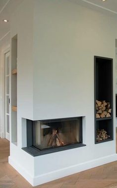 Corner Gas Fireplace, Farmhouse Fireplace, Home Fireplace, Modern Fireplace, Living Room With Fireplace, Fireplace Design, Living Room Decor, House Extension Design, House Design