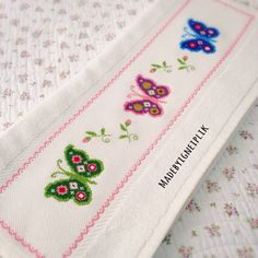 Cross stitch towels / butterfly