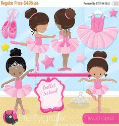 80% OFF SALE Ballerina ballet class clipart by Prettygrafikdesign