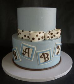 Baby Blocks Baby Shower: Buttercream with fondant accents