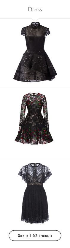 """Dress"" by jiayixo ❤ liked on Polyvore featuring dress, lace, embroidery, dresses, vestidos, black, short dresses, short-sleeve dresses, short lace cocktail dress and embroidery dresses"