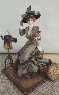 Victorian Dolls, Antique Dolls, Miniature Crafts, Miniature Dolls, Dollhouse Dolls, Dollhouse Miniatures, Doll Costume, Edwardian Fashion, Fairy Art