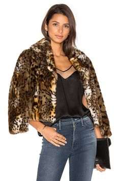 MOTHER The Boxy Crop Faux Fur Jacket in Le Tigre Leopard