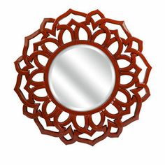 """Round Sunburst Red Lacquer Wall Mirror 32"""" Chinois Open Fret Work"""