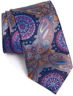 $385, Navy Print Silk Tie: Ermenegildo Zegna Venticinque Print Silk Tie. Sold by Nordstrom. Click for more info: http://lookastic.com/men/shop_items/31761/redirect