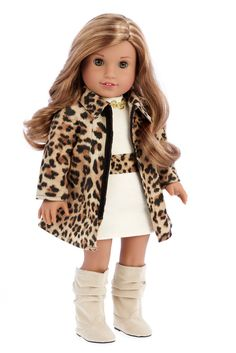 Faux suede cheetah coat with ivory cotton dress with cheetah belt and golden necklace matched with faux suede ivory high boots. Our doll clothes fits 18 inch American Girl dolls. Designed in the USA a