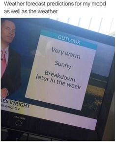 Weather forecast predictions for my mood as well as the weather.