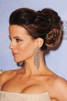 Kate Beckinsale. Beauty and style. Love the updo