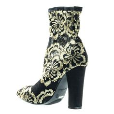 0e4a2fcba69c Madam13 Heel w Elastic Sock Floral Lace Ankle Bootie w Pointed Toe. Solid  BlackBlack ...