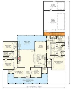 only flip master bed so it has walkout to rear porch. Desirable One-Level Farmhouse Plan with Ample Storage Space - floor plan - Basement Stair Location Dream House Plans, House Floor Plans, My Dream Home, Dream Homes, House Blueprints, Open Layout, Architectural Design House Plans, Attic Spaces, Farmhouse Plans